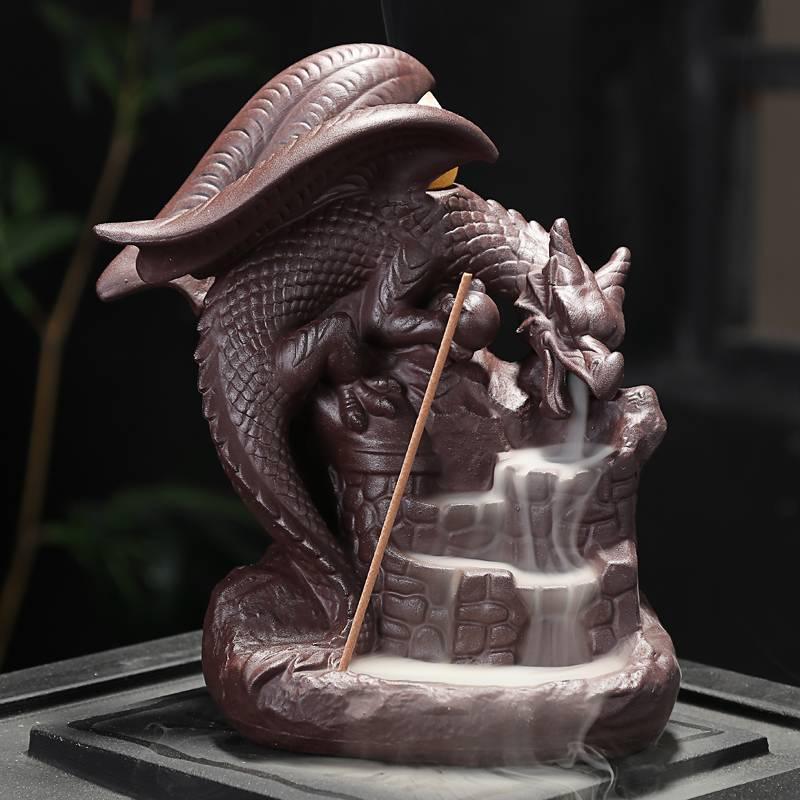 Ceramic Backflow Incense Burner Censer Home Decor Dragon Incense Holder Burner Home Office Teahouse Table Desk Decoration Gifts