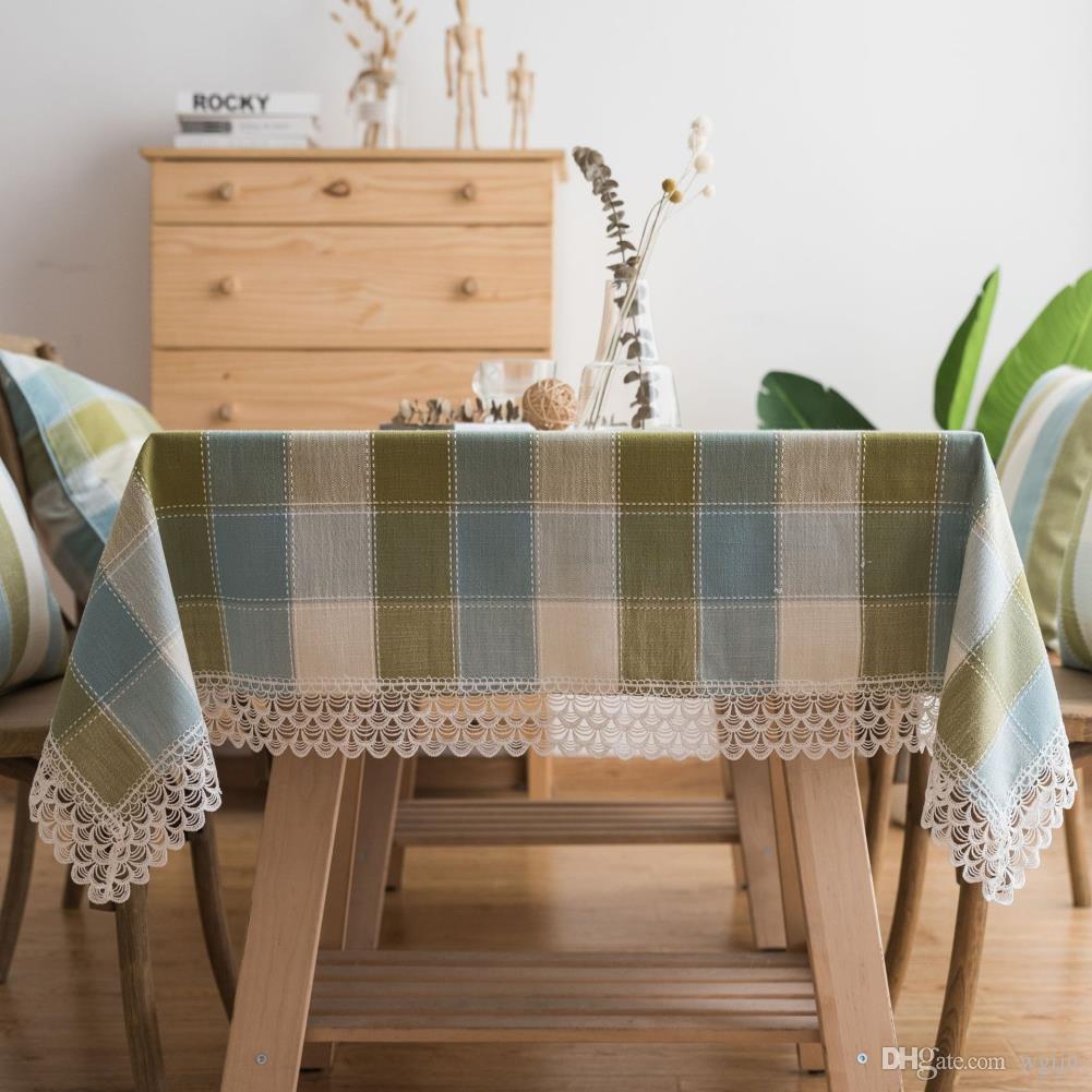 Lüks Dantel Püsküller Yeşil Izgara Pamuk Keten Masa Örtüsü Yeni Ev Mutfak Dekor Yemeği Masa Üstü Düğün Parti Masa Koşucu