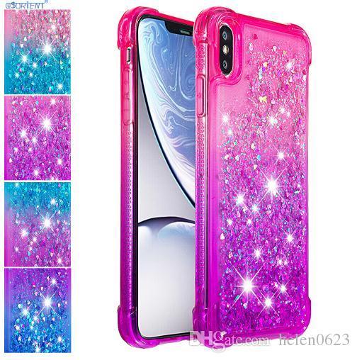 لاجهزة ابل ايفون X XS Max Glitter Case لاجهزة ايفون XR 6 6s 7 8 بلس غطاء لطيف لسامسونج S9 S10 S8 Bling Dynamic Liquid Bumper الحالات الهاتف