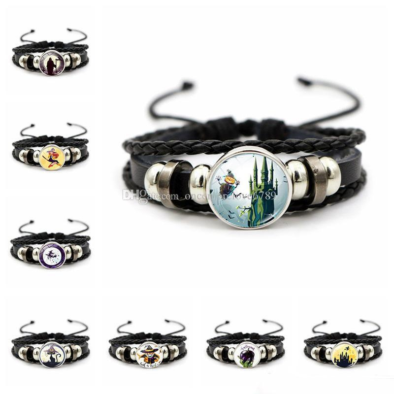Halloween 18MM Snap Button Bracelets For Women Men Witch bat Charm Braided leather rope Bangle Fashion DIY Jewelry Gift