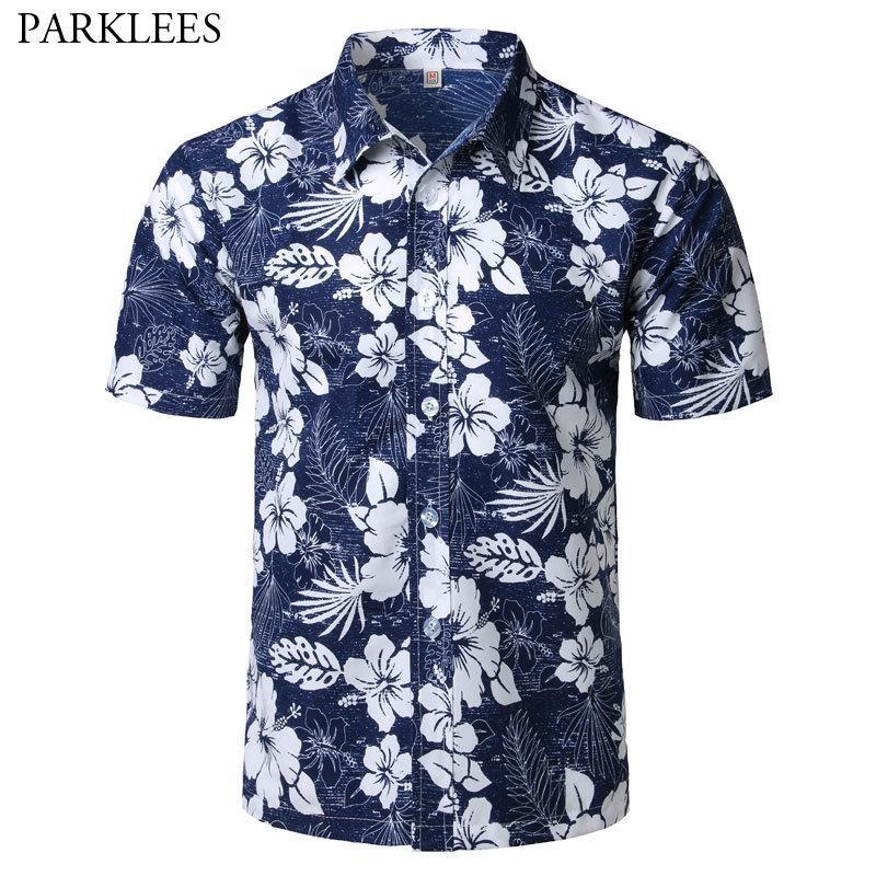 Мужская летняя мода пляж гавайская рубашка бренда Slim Fit с коротким рукавом цветочные рубашки повседневная одежда для вечеринок Camisa Hawaiana C19041702