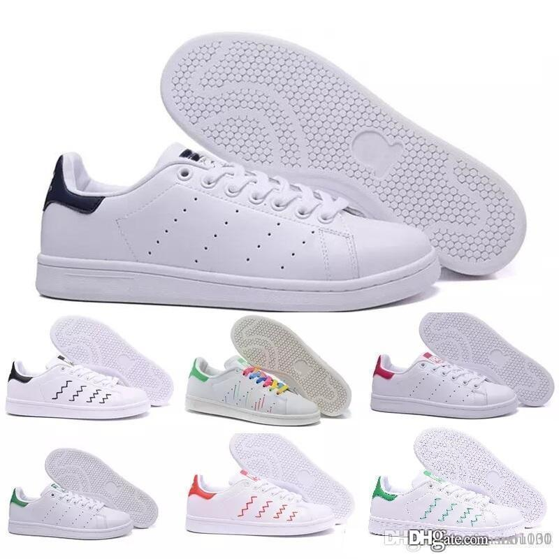 2018 TOP qualidade marca new stan shoes moda smith sapatilhas de couro ocasional dos homens das mulheres esporte jogging sapatilhas flats clássicos sapatos