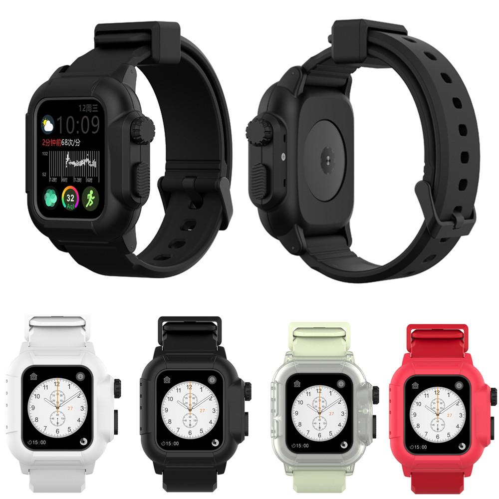 Full Protection Waterproof Cover Case Band for Apple Watch Straps Bands 40/44mm Sport Silicone Wristband Bracelet Strap for iWatch Series 4