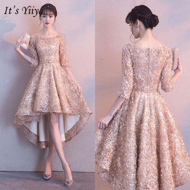 It's Yiiya Bridesmaids Dresses 2019 Half Sleeve Elegant Floral Appliques Tea-length Dresses Zipper Slim Short Formal Dress Ys031 SH190827