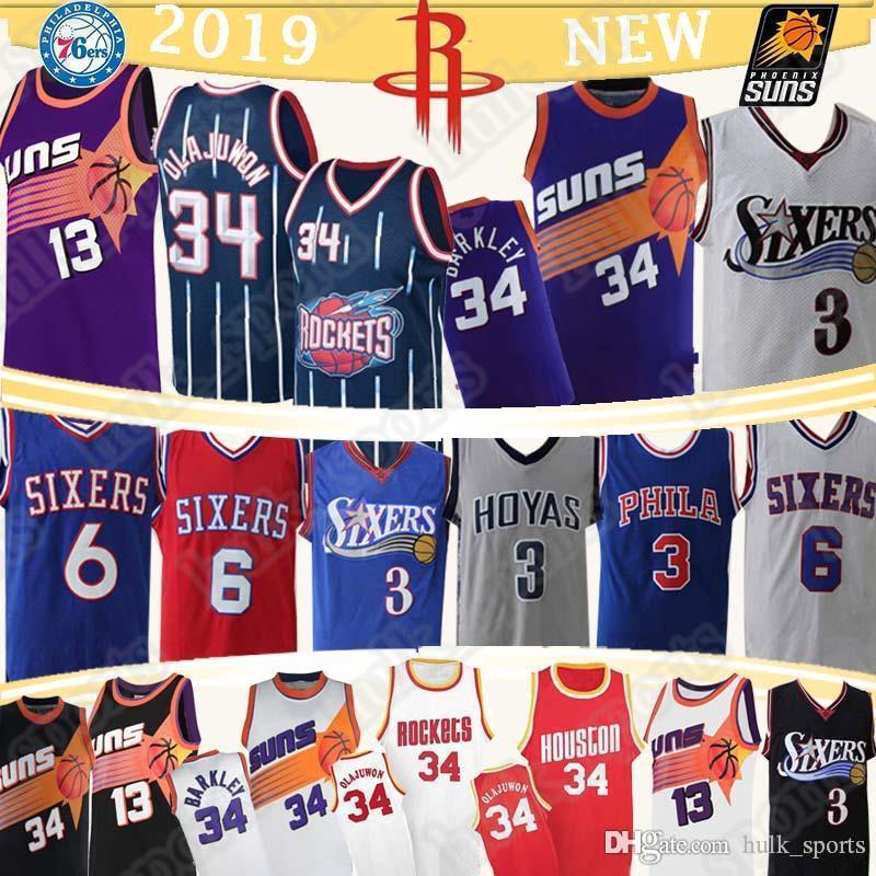 34 Olajuwon 34 Barkley Джерси 13 Nash Аллен Айверсон 3 Хаким 6 Erving ретро майки для баскетбола