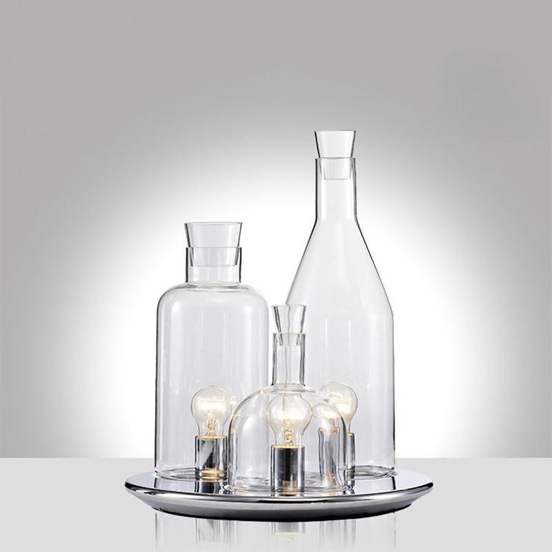 Botella de vino moderna Cromo Claro Metal Vidrio Lámpara de mesa hogar creativo de lectura lámpara de escritorio de la decoración TA103