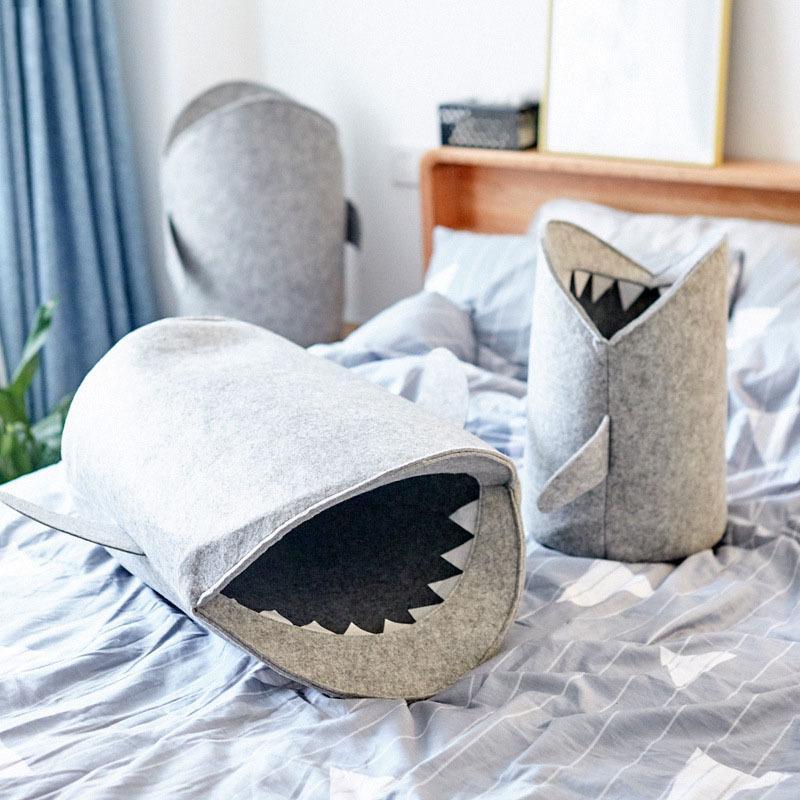 S / M / L Shark feltro bagagli carrello giocattolo del capretto bagagli benna Sundries Cartoon Shark scatola di immagazzinaggio della biancheria sporca Portabiancheria VT0587