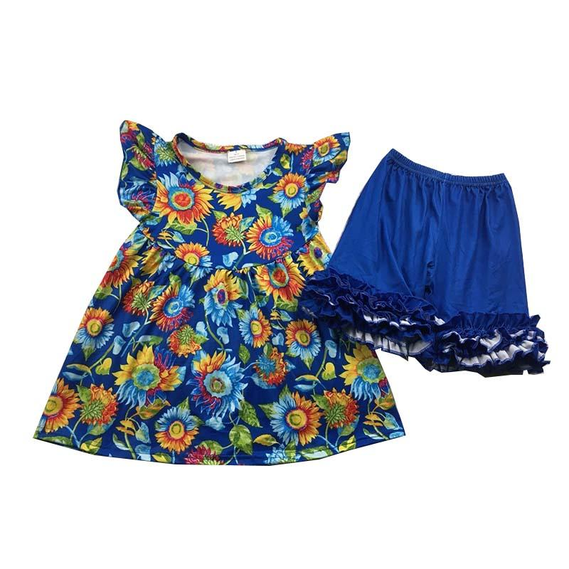 подсолнечника напечатано туника топ Перл обледенение рукавом Ruffle короткие девушки одежда наборы