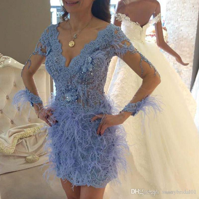 New Arrival Blue Lace Feather Short Cocktail Party Dresses With Illusion Long Sleeves Beaded V Neck Arabic Mini Prom Gowns 2019 Homecoming