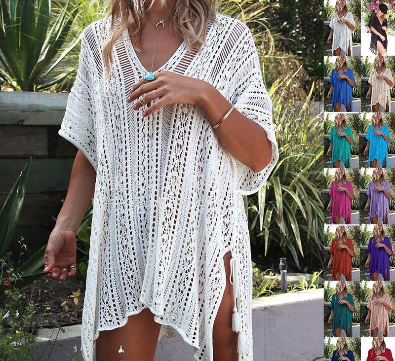 New Sexy Crochet Branco malha Praia Cubra acima vestido túnica Pareos Biquinis Beach Dress encobrir Swim Cubra acima Robe Beachwear