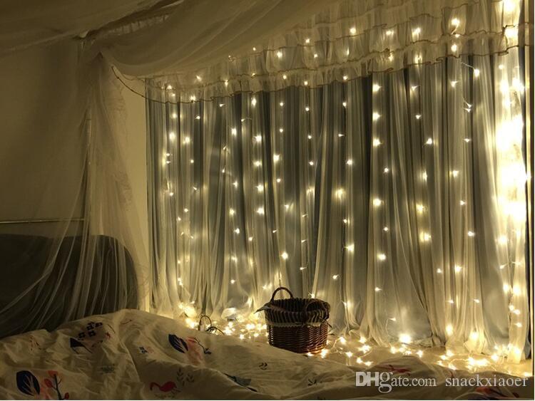 luce della tenda della stringa led fata luce di Natale ghirlanda impermeabile festa in giardino matrimonio fata luce 3x3 m all'aperto