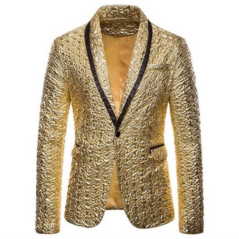 Sıcak Erkekler Parlak Altın Pullu Glitter Süslenmiş Blazer Ceket Gece kulübü Blazer Düğün Ceket Sahne Şarkıcılar