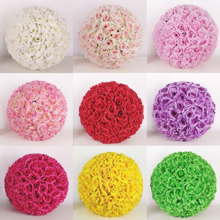 Decorar la boda bola de la flor de seda de 12 pulgadas Pomander se besa bola de la flor flor artificial para la decoración del jardín de mercado LXL208-A