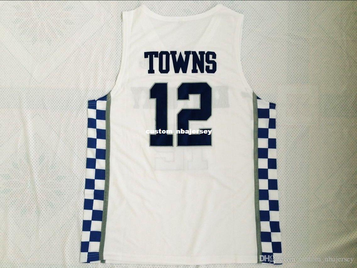 # 12 pas cher sur mesure Karl-Anthony Towns Kentucky College Basketball Jersey Blanc Cousu Personnalisez l'un nom de nombre HOMMES FEMMES JEUNES XS-5XL