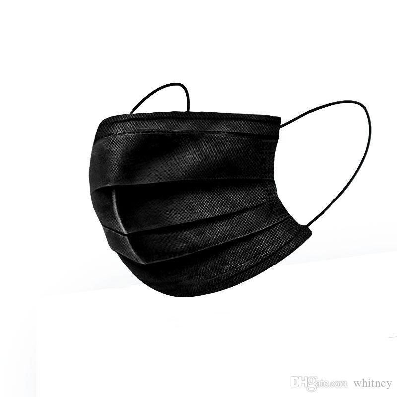¡En stock! 3 capas Mascarilla desechable Tejido anti polvo no Negro Mes de la cara para el uso cotidiano