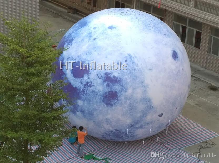 شحن مجاني 10M القطر العملاق الهليوم بالون القمر / قابل للنفخ القمر الكرة / قابل للنفخ LED المضاء القمر بالون للبيع