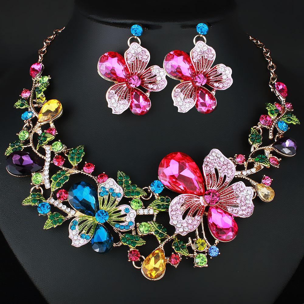 Color Lila Diamante Flor De Cristal Collar Y Aretes Cadena de Color Oro
