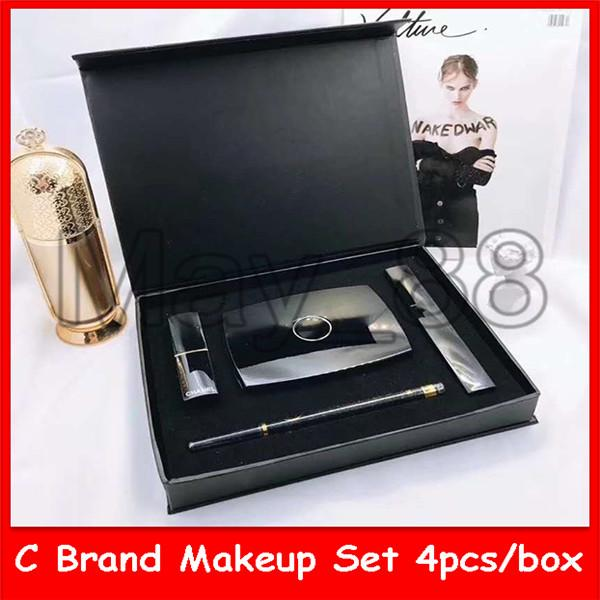 2020 caliente famoso C Maquillaje 4 en 1 Set marca de cosméticos del soplo de polvo rimel delineador de ojos lápiz labial fijado con el envío de DHL
