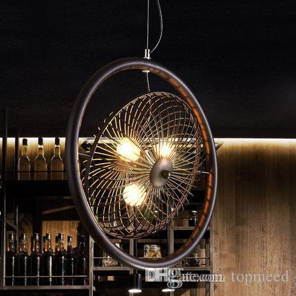 Novo Retro vento industrial Norte Europeu led pingente lâmpadas estilo Americano country bar personalidade criativa Loft Ferro ventilador pingente lustre