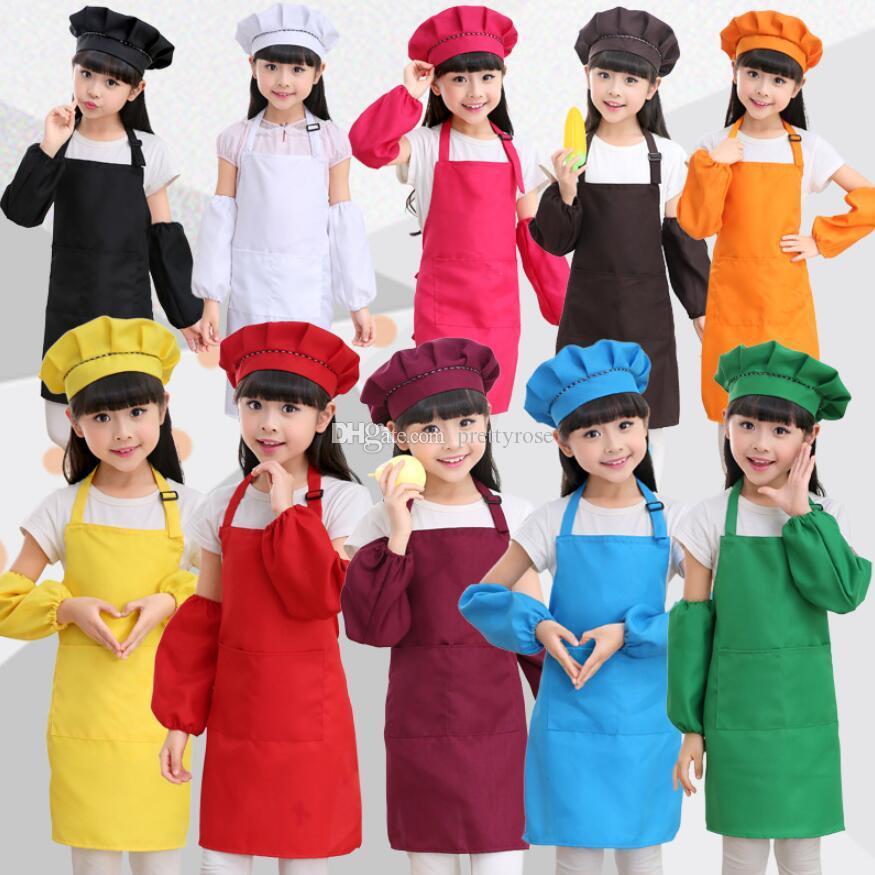 1 مجموعة = المئزر + قبعة + كم أطفال مآزر جيب الحرفية الطبخ الخبز فن الرسم أطفال مطبخ مآزر مآزر الأطفال أطفال مآزر 12 الألوان