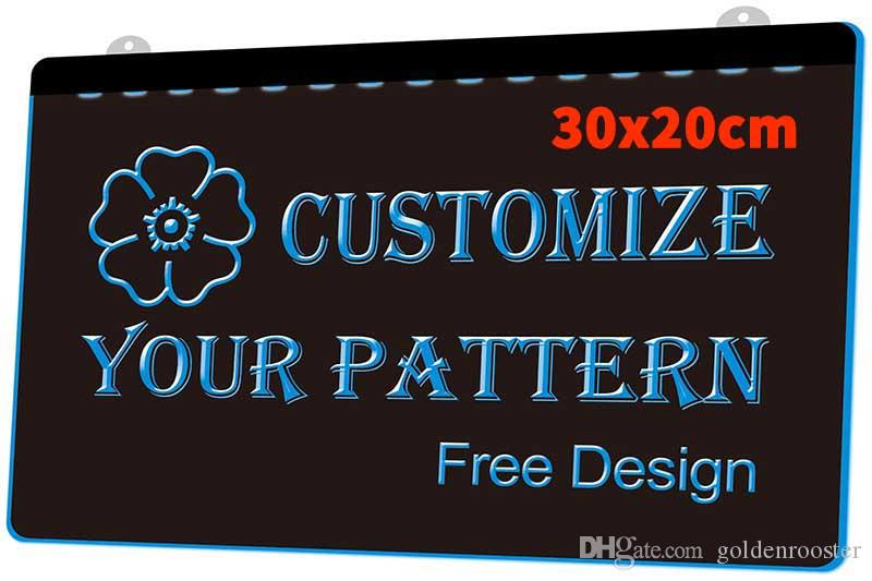 [F0000] 30x20cm Customize Your Logo, Signs or Pattern Plaque New 3D Engraving LED Light Sign Customize on Demand Multiple Color