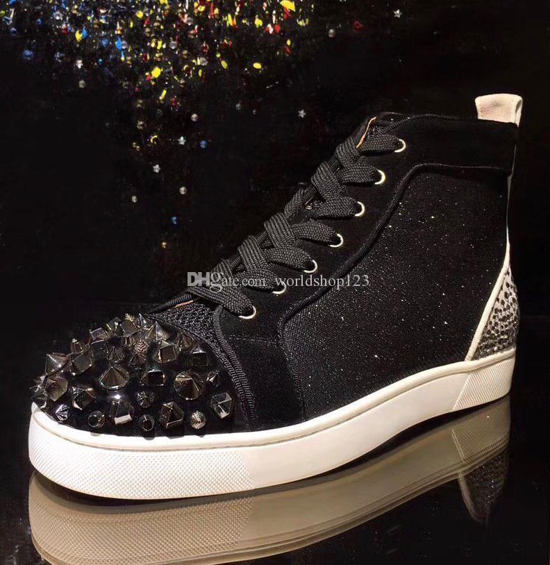 Зимние кроссовки Мужская обувь шипованных Кроссовки Red Bottom марка, вскользь Mens способа неподдельной кожи Квартиры обувь с голубой Стразовая Пика Sneaker