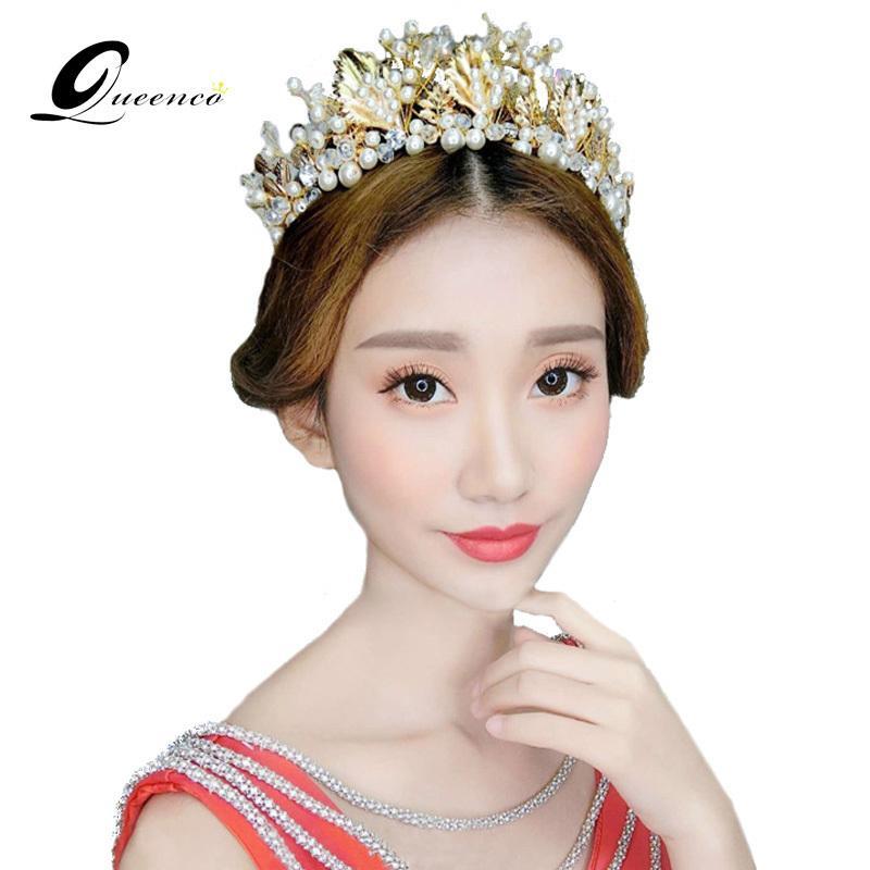 Gold Leaf cheveux Accessoires main nuptiale Rétro Couronne d'or de diadème de mariage Perles Bandeau Bijoux Fashion