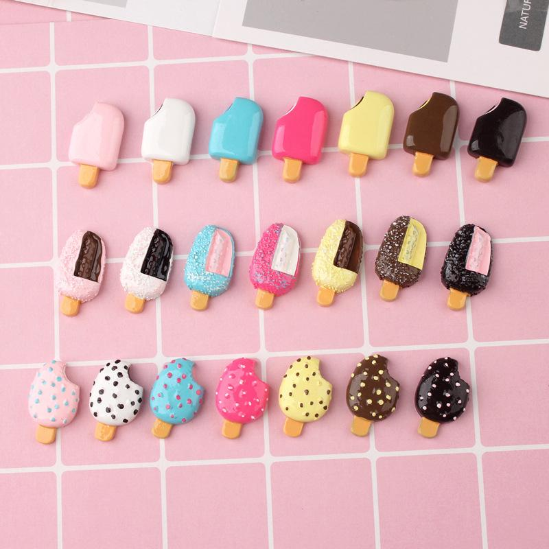 Free Shipping 100Pcs/lot Mix Kawaii Food Ice Cream Resin Flat back Cabochons For Phone Deco Scrapbooking DIY Kids Party Gift