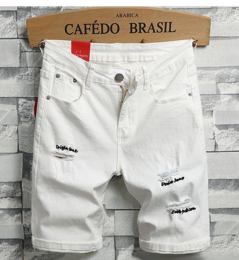 Pantalones cortos de mezclilla de los hombres pantalones cortos de mezclilla blancos nuevos hombres del verano estiramiento pantalones vaqueros cortos de mezclilla delgada Pantalones cortos de algodón de alta calidad