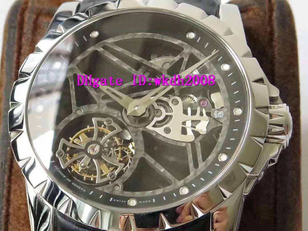 JB EXCALIBUR RDDBEX0393 Часы швейцарские Летающий Tourbillon ручной намотки Механические наручные часы Скелет циферблат сапфировое стекло кожаный ремешок