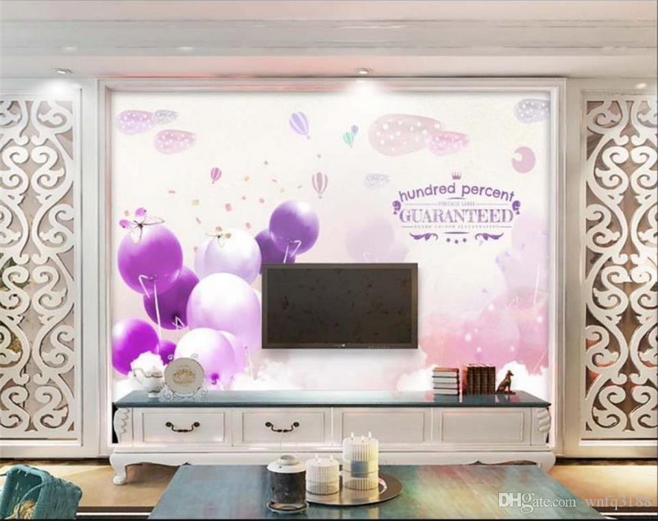 Personnalisé taille 3d photo papier peint salon murale Ballon Violet Papillon image 3d peinture canapé TV fond d'écran non-tissé autocollant