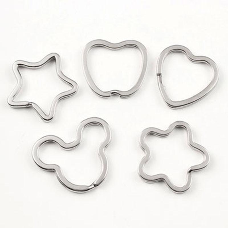 100шт / много металла Pentagram звезды Сердце брелок разрезные кольца брелок брелок Петля Circle Hook аксессуары Бесплатная доставка