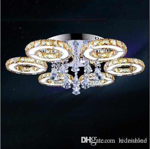 Luxury Modern Led Crystal Ceiling Light Crystal Chandeliers 1/3/5/6/7/8 Heads Clear/Amber Crystal for Foyer Living Room Bedroom