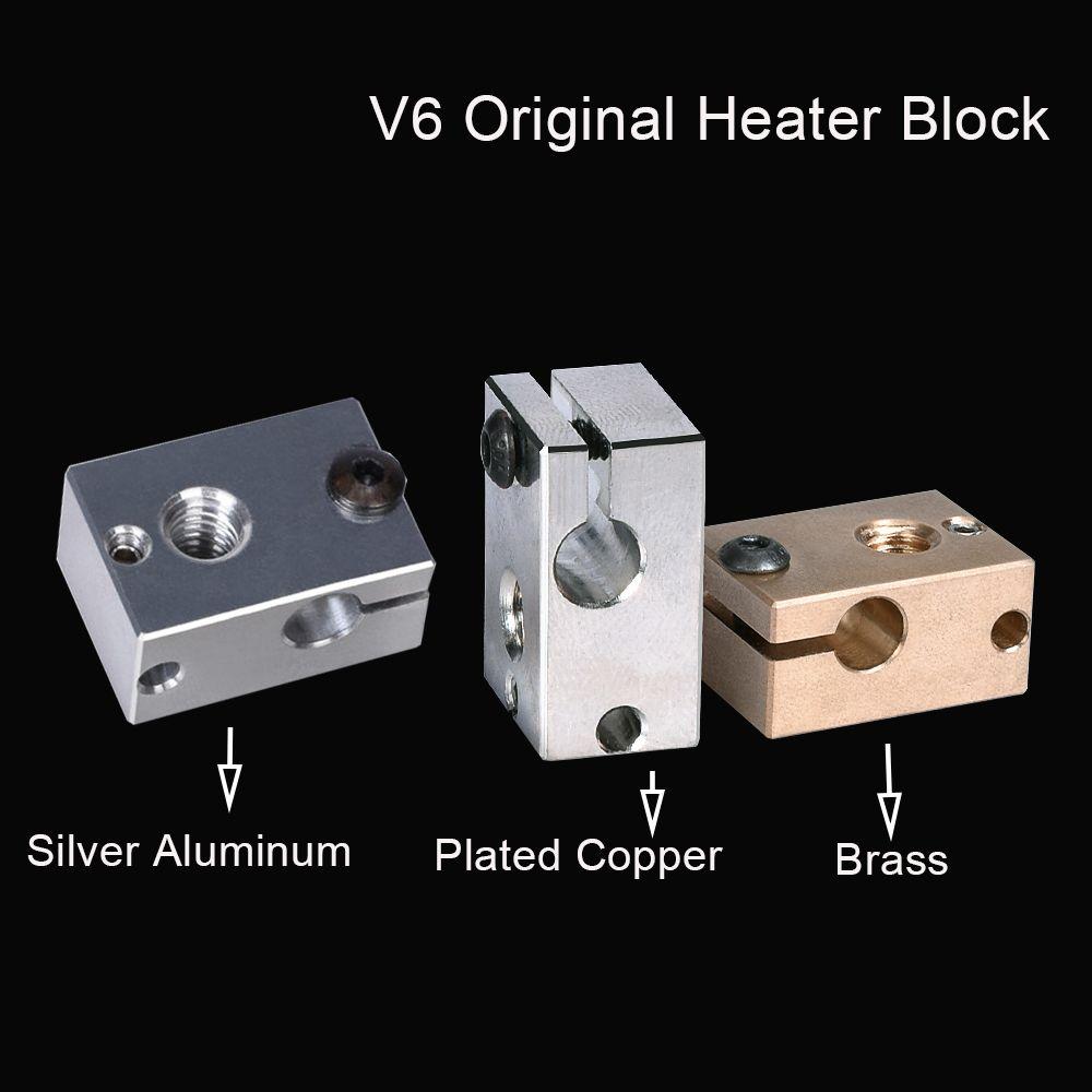 Компьютер офис 6 гальваническим медный нагреватель 6 Тепловой блок Алюминиевый блок V6 Brass Для E3D V6 Hotend Экструдер силиконовым Носок