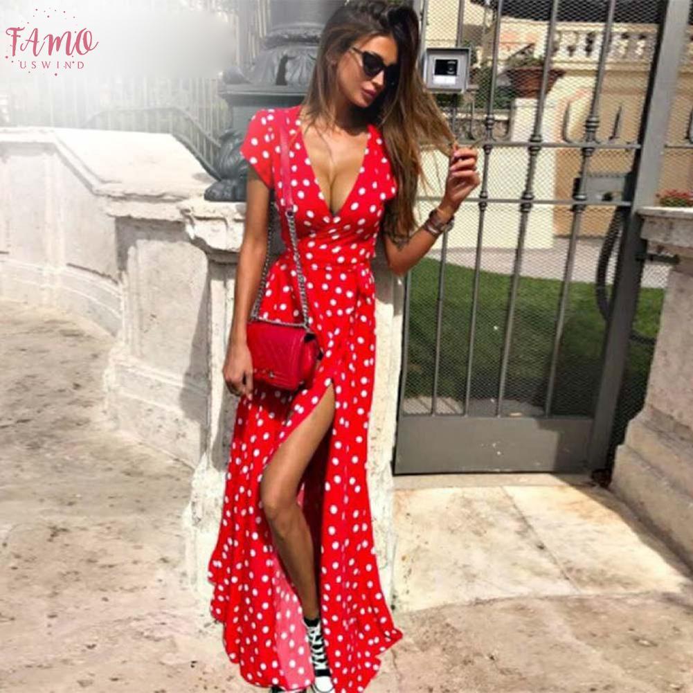 Boho largo del lunar de las mujeres viste el partido de la manga corta ocasional del vestido del verano 2019 de Calle Negro maxi vestido Vestidos