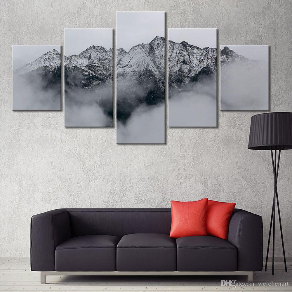 Poster Art Paintings Canvas Poster Stampa 5 Pannelli Materhorn Snow Mountain Picture Home Decor Wall Art
