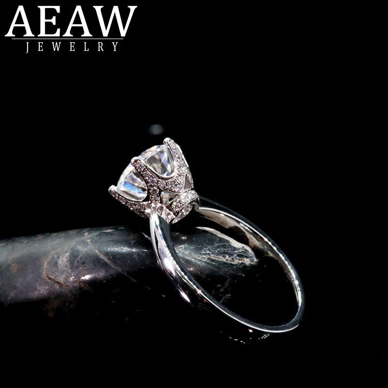 AEAW 18K Solid белого золота 3.0ct Круглый вырез HTHP Diamonds Обручальное женщин Модные Fine Jewelry кольцо S200110