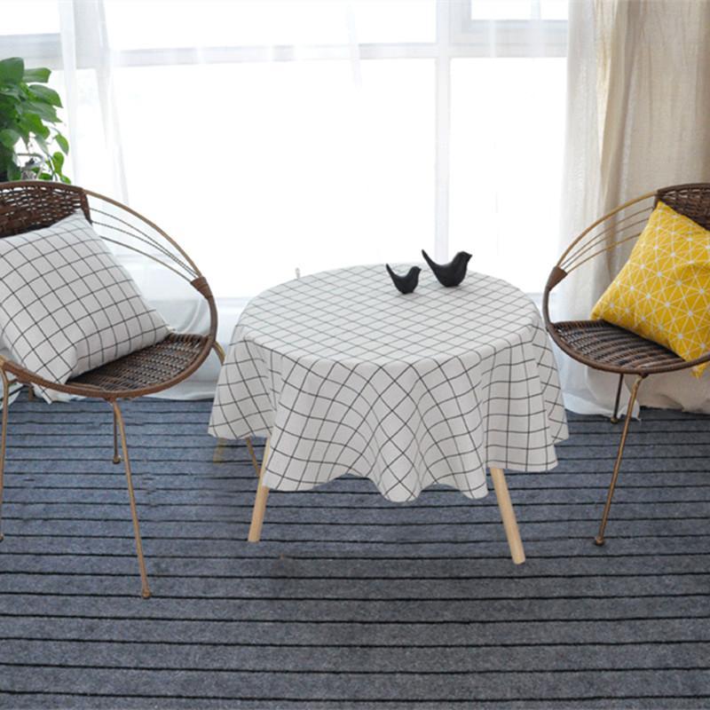 Nordic Polyester Baumwolle Rundtischdecke Farbe Gelb-Reis-Wort Grau Pfeil Baumwolle und Leinen Druck Tischdecke Individueller