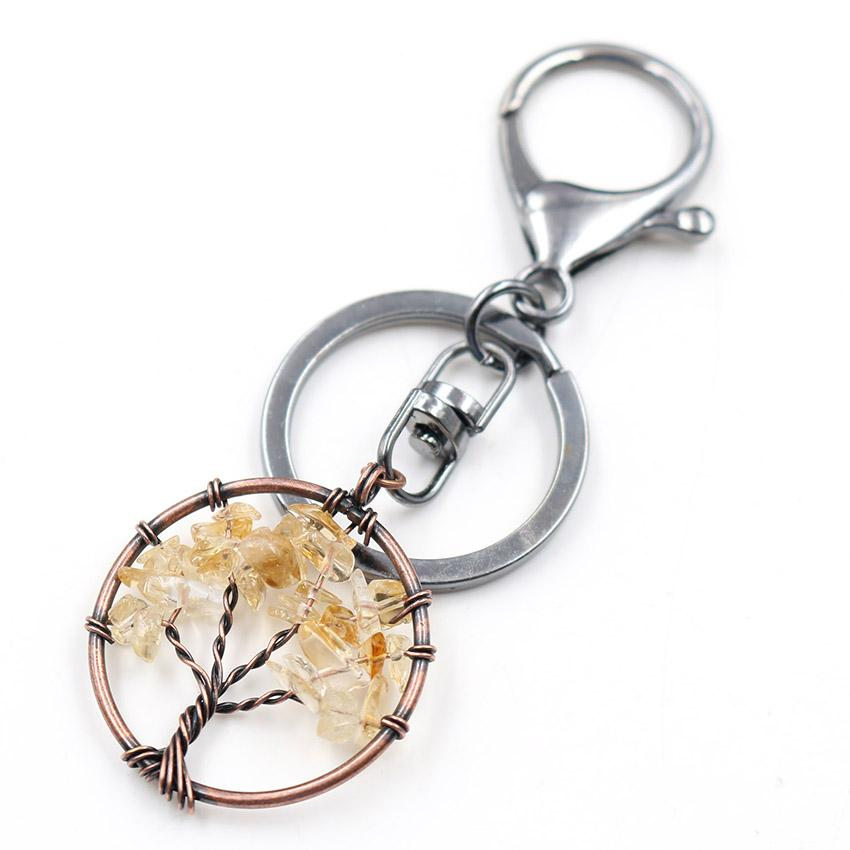 Wholesale 10 pcs Copper Circle Lobster Clasp Wire Wrap Tree of Life Plant Key Chain Stone Jewelry