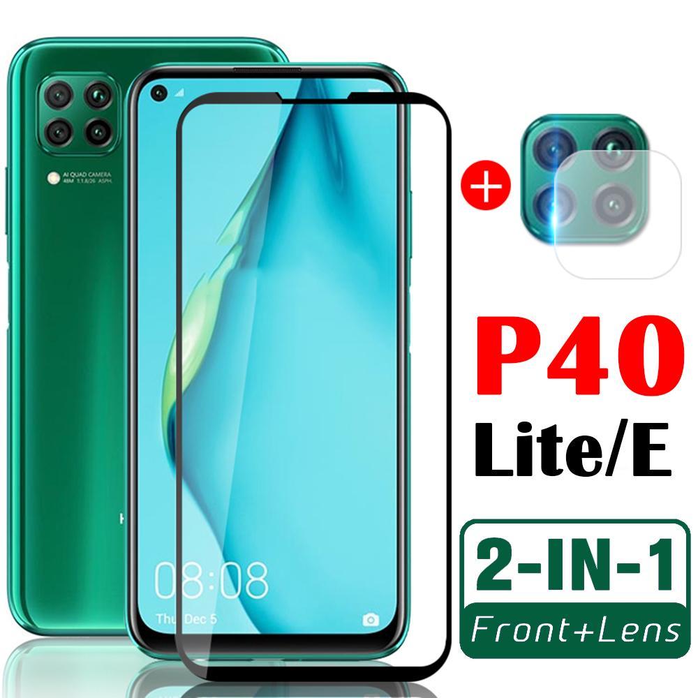 защита экрана для huawei p40 lite e чехлы для телефонов с объективом камеры Hauwei P40 P40lite защитная пленка 2in1 закаленное стекло