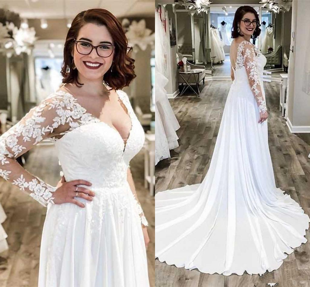 Long Sleeve Country Wedding Dress Beach Bridal Gown with Lace Custom Size