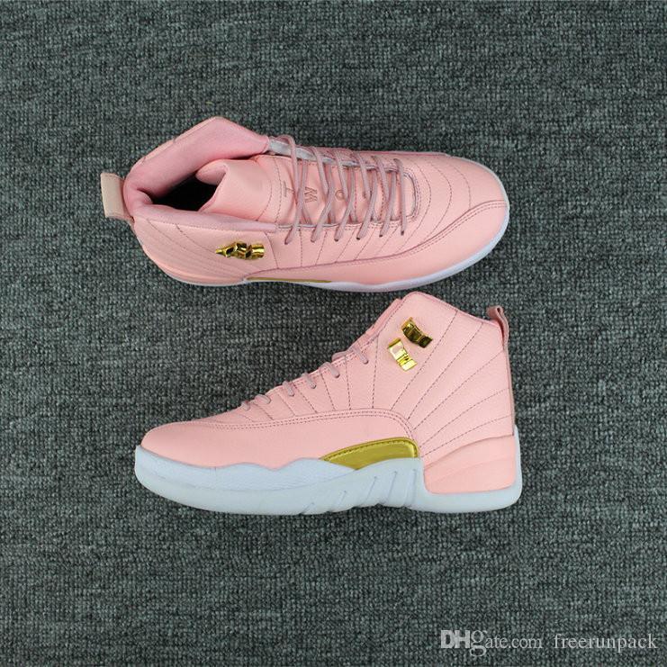 Popular 12 Gs Rosa Ouro Branco Shoes Designer Basquetebol baratos surpreendente XII Rosa Limão Moda Feminina Desporto Sneakers vêm com caixa
