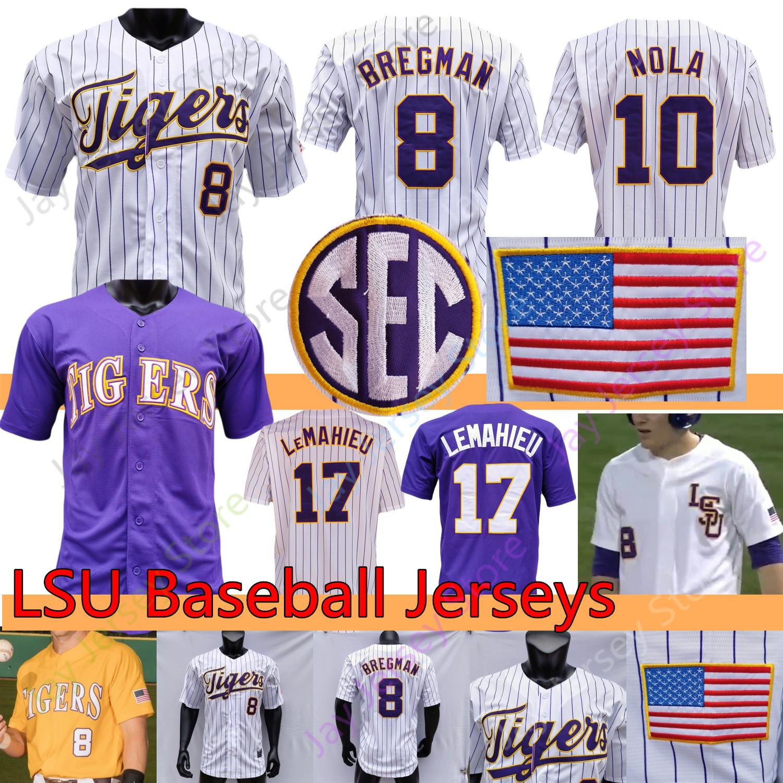 Personalizzato LSU Baseball Jersey College NCAA Dylan equipaggi Giovanni Digiacomo Daniel Cabrera DJ Lemahieu Aaron Nola Alex Bregman Gausman Beloso Cranford Dugas