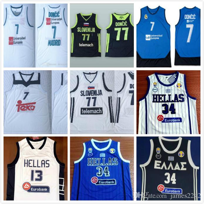2020 Eslovenia 77 Doncic Luka nº 7 Slovenija Real Madrid Euroliga Giannis Antetokounmpo G. # 34 camisetas de baloncesto Grecia Hellas Nacional