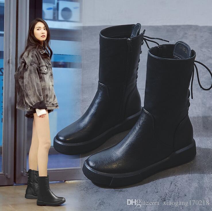 Nuevas botas de felpa de algodón de fondo plano con Botas longitud media de las mujeres estilo británico retro