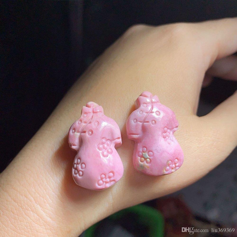 Natural Rhodonite Rose Quartz Crystals Cute Little Cheongsam Mini Carved DIY Necklace Pendant , Bracelet Accessories Ms Gift