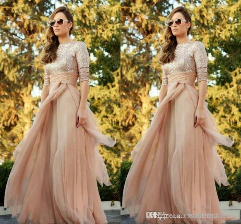 Sparkly Gold Sequins Bridesmaid Dresses 2017 Jewel 3/4 Sleeves Maid Of Honor Tulle Prom Dresses Evening Gowns Custom Made