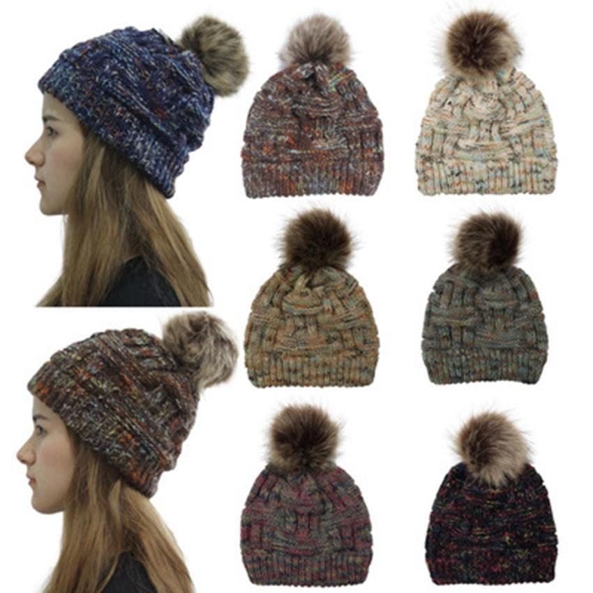 Hat Casual Crful Pom Pom Beanies Girls Pompon Fe Winter Warm Knit Skullies,Hat White,