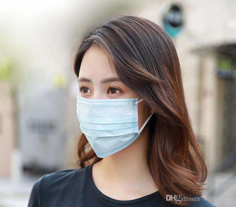 Factory sales Disposable Face Masks Thick 3-Layer Masks , Dustproof Mask Facial Protective Home Use Comfortable Mask fast shipping