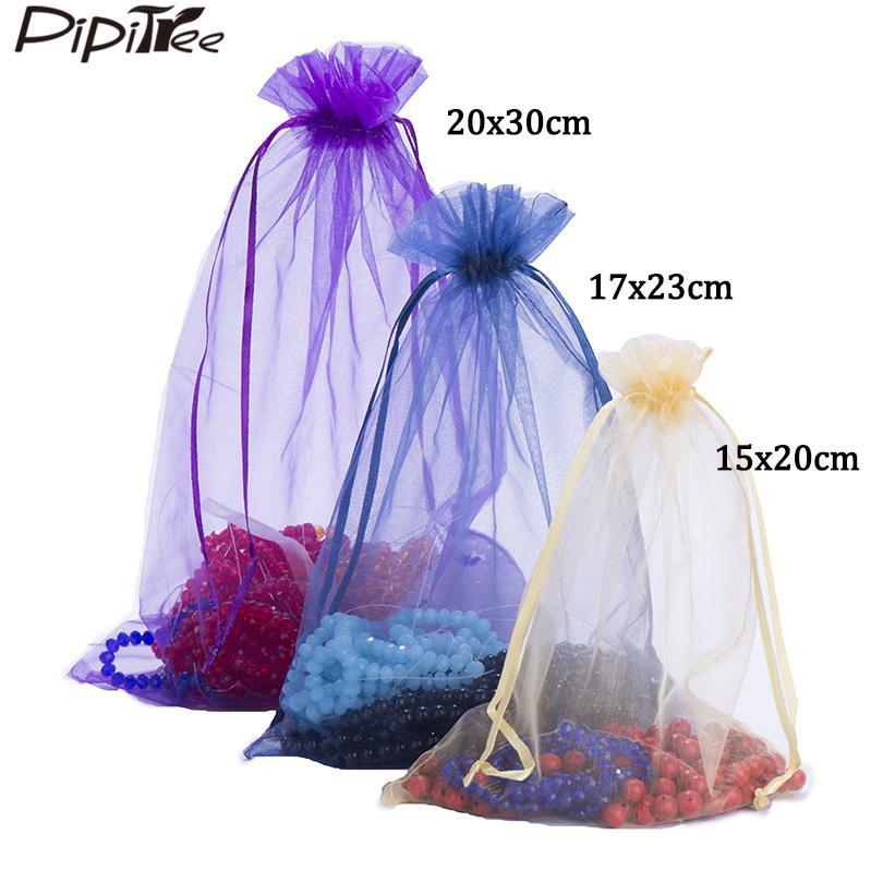 100шт 15x20 17x23 20х30 30х40см Большой размер органза сумки венчания подарка Кристмас мешка ювелирных изделий Упаковка Дисплей ювелирных изделий сумки T200602